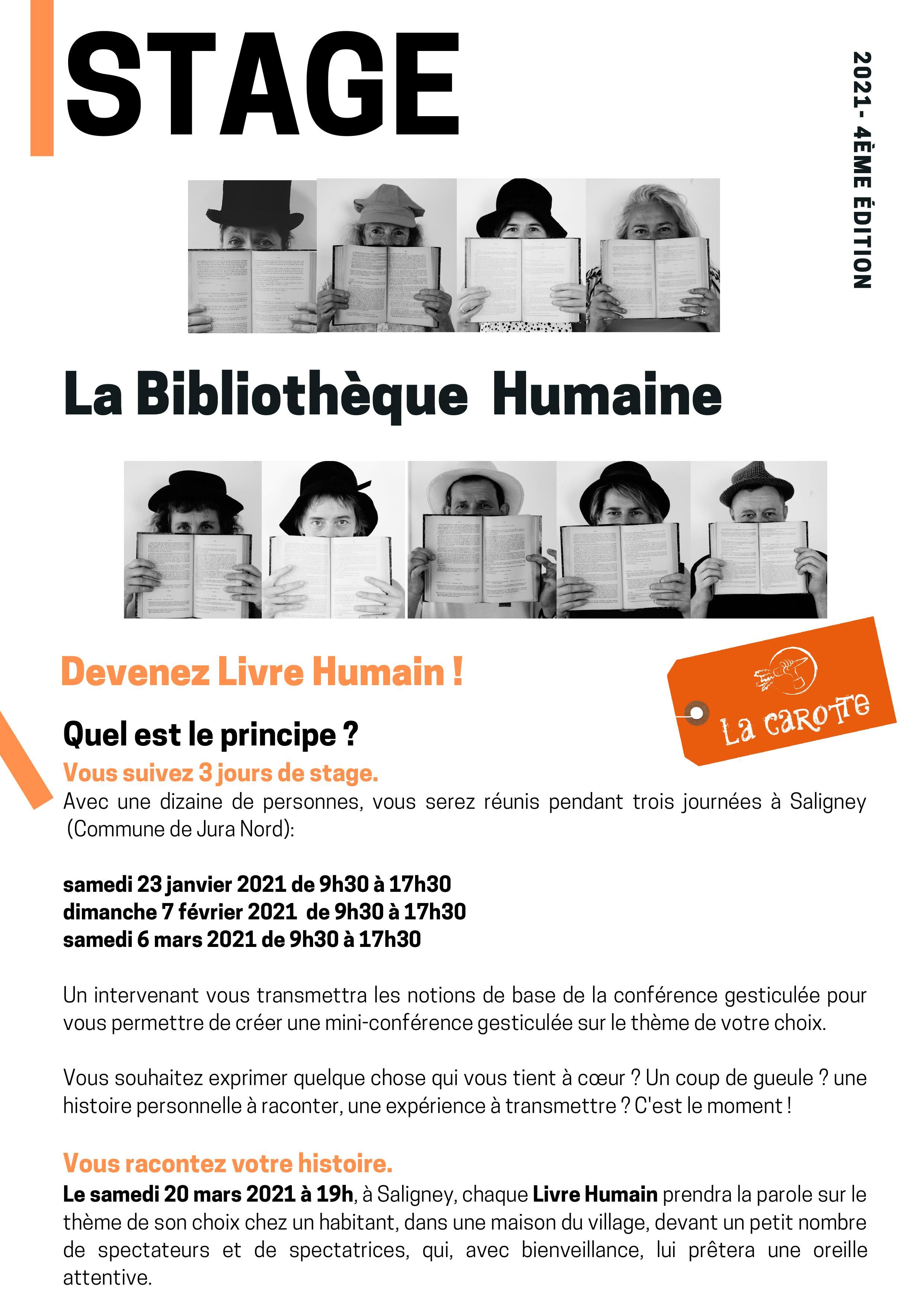 Stage BIBLIOTHEQUE HUMAINE 2021