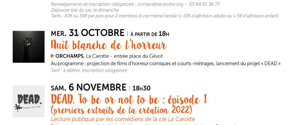 PROGRAMMATION La Carotte – Septembre à Décembre 2021